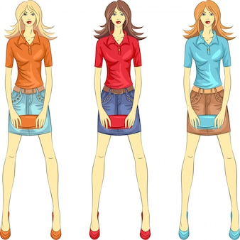 Beautiful fashion girls top models illustration