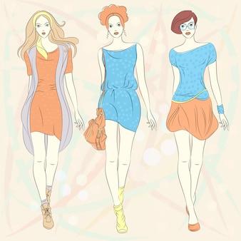 Красивые модные девушки топ-модели в платьях