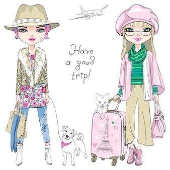 Beautiful fashion girls travel the world