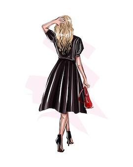 검은 드레스에 아름 다운 패션 여자 여러 가지 빛깔의 페인트 컬러 드로잉에서 세련 된 소녀
