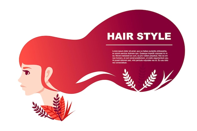 Beautiful fashion women hair style abstract banner with floral pattern flat vector illustration