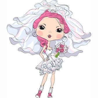 Красивая модная девушка невеста в свадебном платье
