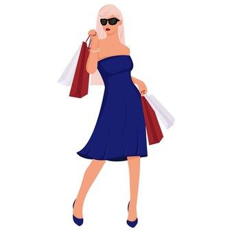 ドレスを着た美しいファッショナブルな女の子が買い物に行きます。鞄を持った少女。漫画のスタイルのベクトルイラスト。白い背景で隔離。