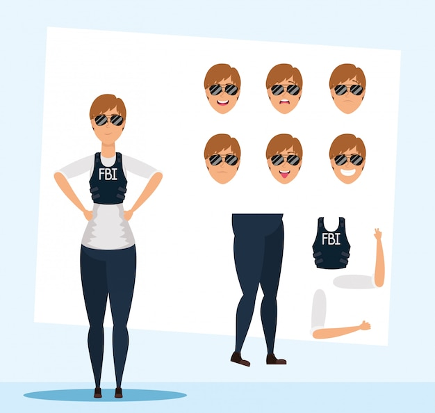 Beautiful fbi woman agent with set faces character vector illustration design