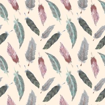 Beautiful feather boho watercolor seamless pattern