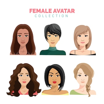 Beautiful female avatar vector collection