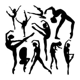Beautiful female ballet dancer silhouettes