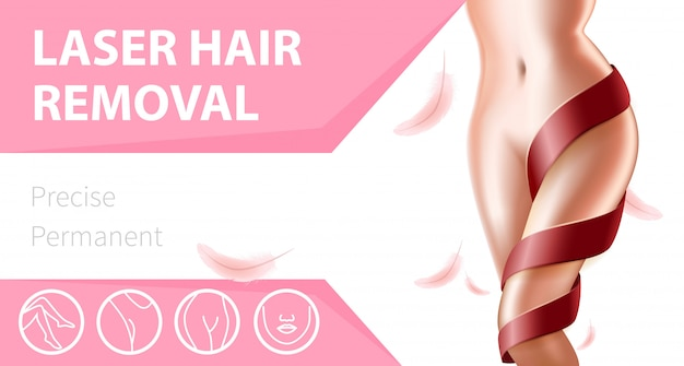 Beautiful female body with smooth skin banner template