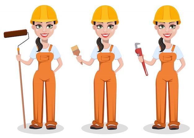 Красивый женский строитель в униформе