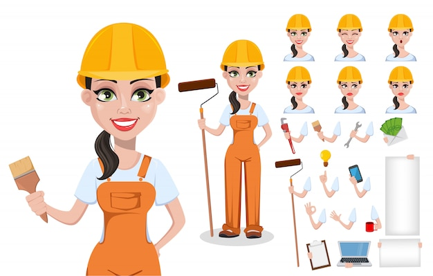 Beautiful female builder in uniform