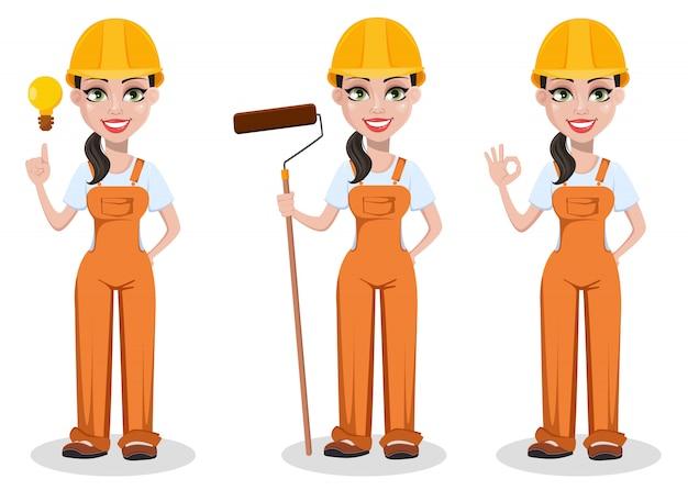 Beautiful female builder in uniform