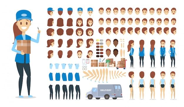 파란색 제복을 입은 아름다운 여성 택배가 다양한 전망, 헤어 스타일, 감정, 포즈 및 제스처와 애니메이션을 설정합니다.