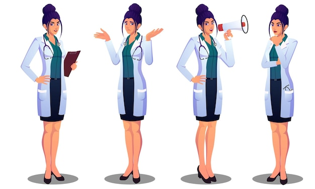 Beautiful female doctor expressing different emotions, confused, thinking, announcing, and standing file