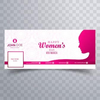 Facebookバナーの美しい女性の顔女性の日カード