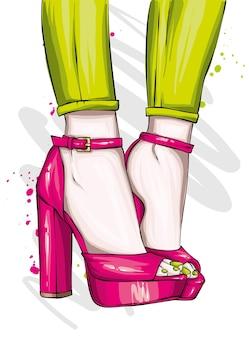 美しい女性の脚とスタイリッシュなハイヒールの靴