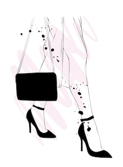 スタイリッシュなハイヒールの美しい女性の脚。