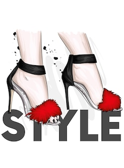 Красивые женские босоножки на высоком каблуке
