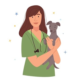 Beautiful female vet with a dogvaccinate a pet sterilization of animals medical examination of an
