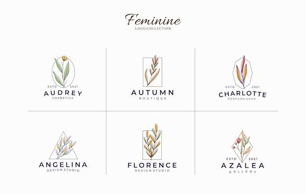 아름다운 여성 식물 최소한의 로고 템플릿