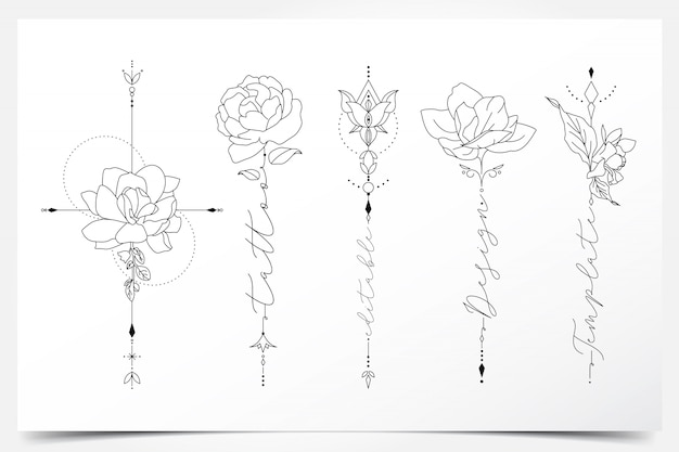 아름다운 여성 편집 가능한 꽃 문신