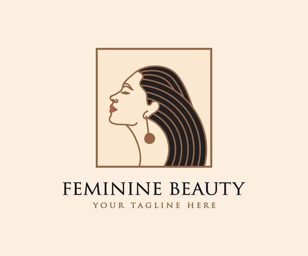 뷰티 살롱 스파 스킨 케어 브랜딩을 위한 아름다운 여성의 얼굴과 머리 로고