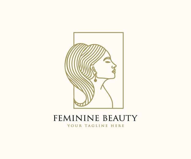 Красивое женское женское лицо и волосы логотип для брендинга спа по уходу за кожей салона красоты