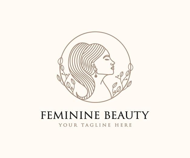 Beautiful feminine woman face and hair logo for beauty salon spa skin care branding