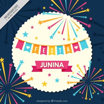 Beautiful festa juninia background with fireworks