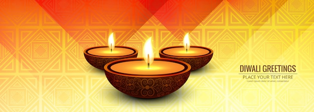 Beautiful festival greeting card with diwali banner
