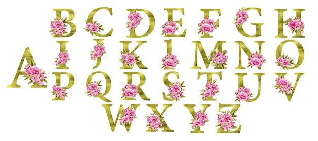 Красивый праздничный золотой алфавит с розовыми цветами