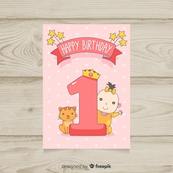 Beautiful first birthday card template