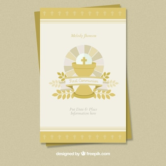 Beautiful first communion vintage invitation