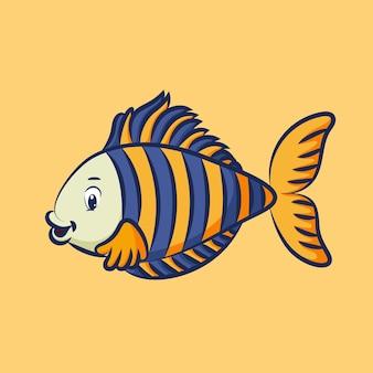 파란색과 노란색 스케일 패턴으로 아름다운 물고기