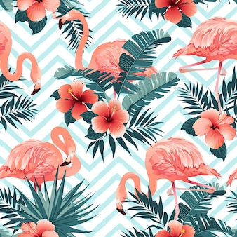 Beautiful Flamingo Bird and Tropical Flowers Background
