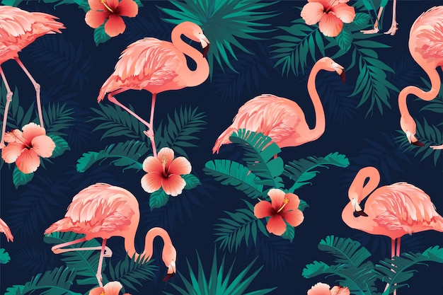 Beautiful flamingo bird tropical flowers background