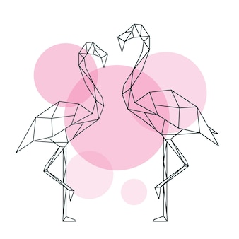 Beautiful flamingo illustration in geometric style of abstract on circles background