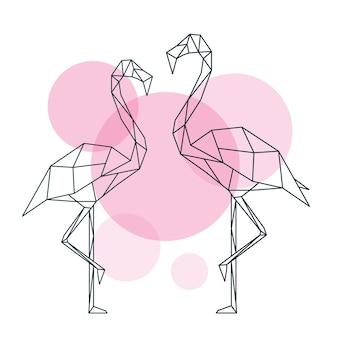 Красивая иллюстрация фламинго в геометрическом стиле абстракции на фоне кругов