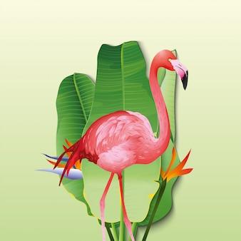 Beautiful flamingo with decorative banana leaves
