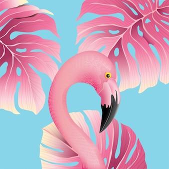 Красивый фламинго с тропическими листьями фона для лета