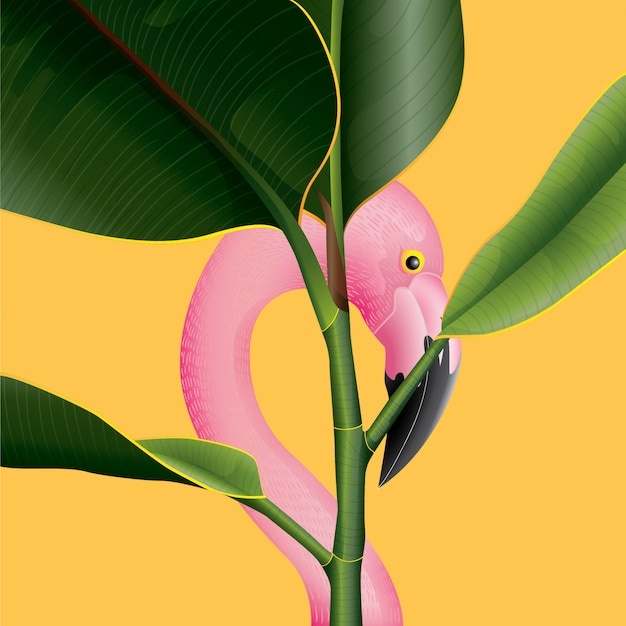 Beautiful flamingo with tropical leafs background for summer