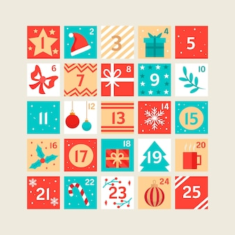 Beautiful flat advent calendar