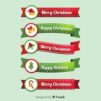 Beautiful flat christmas ribbon collection