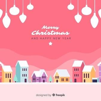 Beautiful flat christmas town background