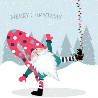 Beautiful flat design christmas card funny gnome hanging.