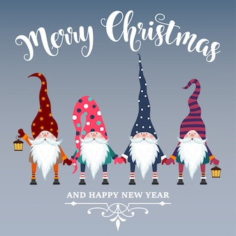 Beautiful flat design christmas card with gnomes