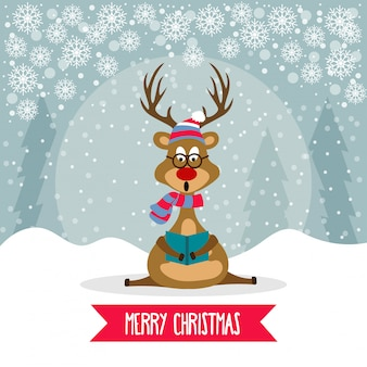 Beautiful flat design christmas card with reindeer