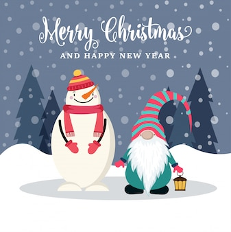 雪だるまとグノーの美しいフラットデザインのクリスマスカード