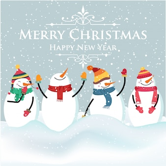 Beautiful flat design Christmas card with snowman and wishes