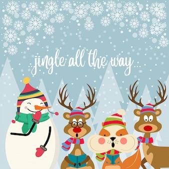Красивая рождественская открытка с плоским дизайном