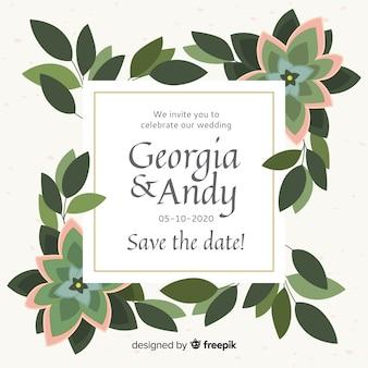 Beautiful flat design of floral frame wedding invitation